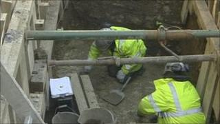 Archaeologists at Bath Abbey