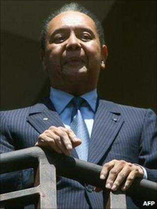 "Jean-Claude ""Baby Doc"" Duvalier in a file photo from 19 January"
