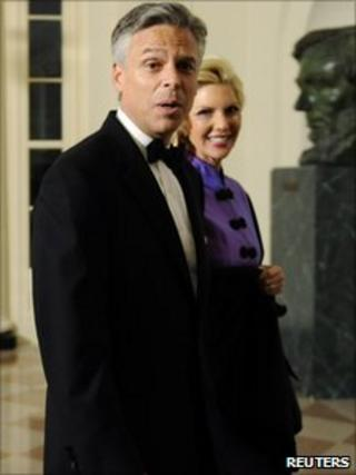 Jon Huntsman arrives at the White House for a state dinner with Chinese President Hu Jintao on 19 Jan 2011