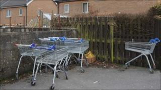 Abandoned trolleys at Ammanford's Ffynnon Las Estate