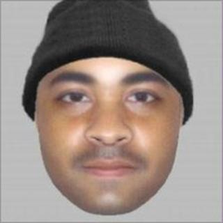 E-fit of mixed race man wearing a beanie-style black hat