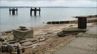 Mulberry Harbours remains at Lepe beach