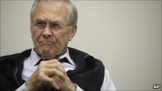 Former Defence Secretary Donald H Rumsfeld is interviewed at his office in Washington, on Thursday, Jan. 20, 2011
