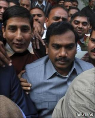 Andimuthu Raja (centre) leaves CBI headquarters in Delhi for court on February 3, 2011