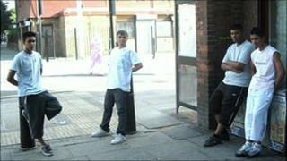 Lads hanging around on a street corner - photo by James Melik, BBC staff