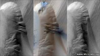 Martian dune comparison (Nasa/JPL)