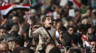 A young anti-government protester at the demonstration in Tahrir Square, Cairo