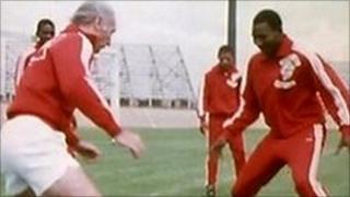 Sir Stanley Matthews training in South Africa