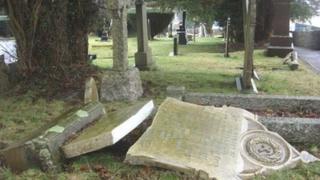 Fallen gravestones