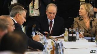 Hillary Clinton, right, US Mid-East envoy George Mitchell, centre, and Tony Blair at a Quartet meeting in Munich. 5 Feb 2011