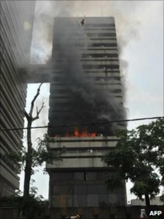 Treasury building on fire