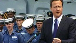 David Cameron on HMS Ark Royal in June 2010