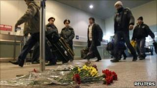 Flowers at scene of the bombing. 25 Jan 2011