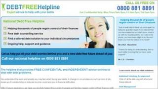 A screengrab of Debt Free Helpline's website from 28/01/2011