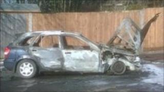 Car after explosion in Vigo, Kent
