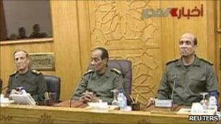 The meeting of Egypt's Higher Army Council appears on state television