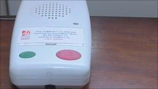 Alarm system with red button