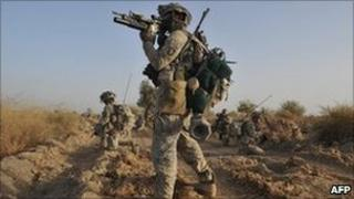 US soldiers on patrol in Kandahar province in 2010
