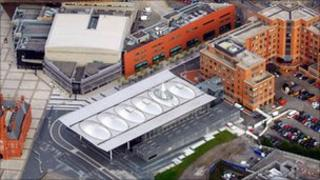 Senedd building from air