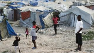 Haitians made homeless in the 2010 earthquake, outskirts of Port-au-Prince