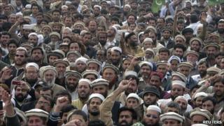 Jamaat-e-Islami supporters protest against the US in Lahore