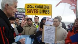 Sir Alan Massey speaking to protesters