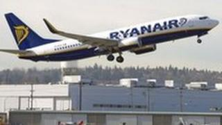 Ryanair jet takes off