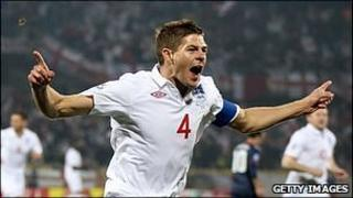 Steven Gerrard celebrates scoring for England v the USA at the 2010 World Cup