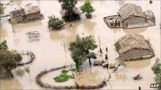 Floodes villages in Pakistan