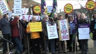 Protesters outside county hall