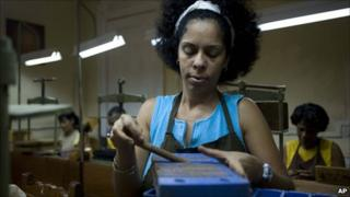 A Cuban woman in a factory