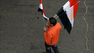 Man selling Egyptian flags