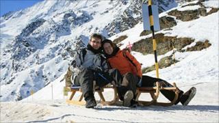 Melanie and Stefan on sledge