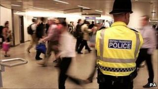 A police officer at King's Cross Tube station