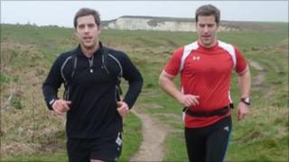 Simon and Matt Phelps running in Swanage
