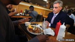 "Rahm Emanuel chats with diners during a campaign stop at Mac Arthur""s restaurant"