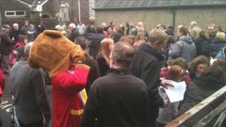 Demonstrators outside the BBC Wales' office in Carmarthen