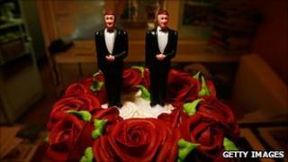 A wedding cake at a same-sex wedding ceremony.