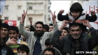 Protestors in the Libyan town of Derna