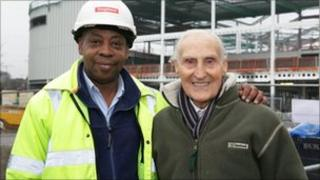 Bert Williams (r) with security guard Trevor Ranger at the Bilston site