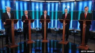 (L-R) John Gormley of the Green Party, Eamon Gilmore of Labour, Enda Kenny of Fine Gael, Micheal Martin of Fianna Fail and Gerry Adams of Sinn Fein