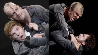 Benedict Cumberbatch and Jonny Lee Miller in their Frankenstein roles (photos by Catherine Ashmore)