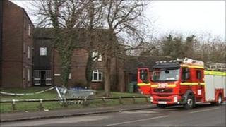 Fire engine outside the flats