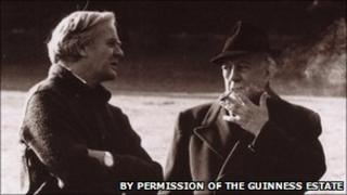 Le Carre with Alec Guinness during the filming of Tinker Tailor Solider Spy (by permission of the Guinness Estate)