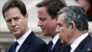 Nick Clegg, David Cameron and Gordon Brown
