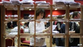 Election official counts votes in Castlebar