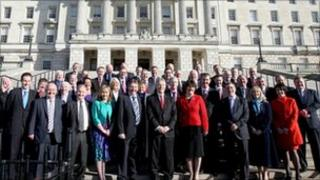 DUP members on Stormont steps