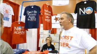 A stall selling anti-Obama t-shirts