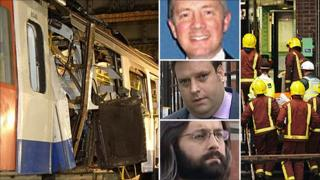 Composite of Aldgate wreckage, Gp Capt Craig Staniforth, Steven Desborough, Timothy Batkin (top to bottom), and paramedics and firefighters at Aldgate