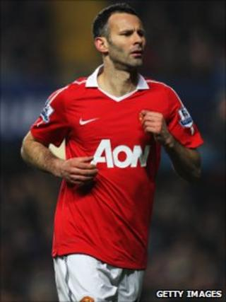 Ryan Giggs making his 606th league appearance for Manchester United against Chelsea on 1 March, 2011